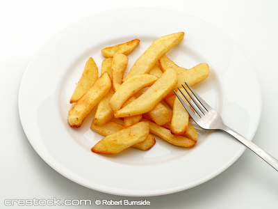 Plate of potato chips with fork